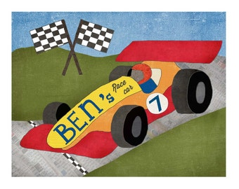 16 by 20 Wall Art Race Car Nursery Decor, Car Theme, Fast Car, Personalized Large Art, Toddler Big Boy Room, Wall Decor, Red Blue, LilyCole
