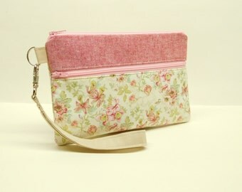 pink floral smartphone wristlet, pink flower smartphone wallet, pink clutch with flowers, floral mini purse, romantic pink iphone wristlet