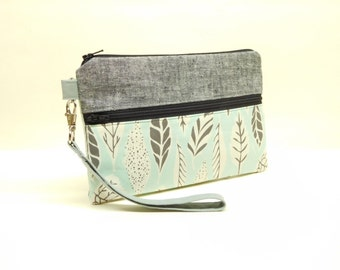 blue gray iphone wallet, gray blue iphone wristlet, blue clutch with leaves, gray mini purse, small blue purse, gray floral iphone wallet