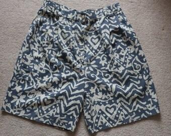 Slate blue and cream long linen mix shorts Uk 10 - 12