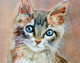 original painting, watercolor, kitten, cat, double matted, hand painted, signed, 8x10, cottage chic, cat lover gift, under 25, calico cat
