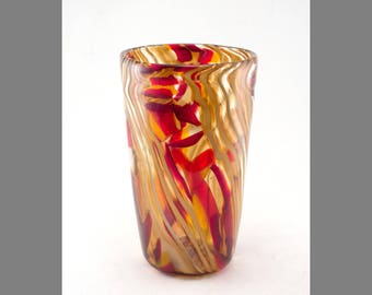 Red and Amber Murrine Vase (Medium-Large)