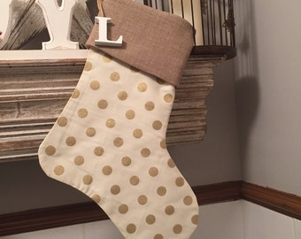 Handmade Christmas Stockings - Christmas Decoration - Personalised with Wooden Letter, Any Letter available