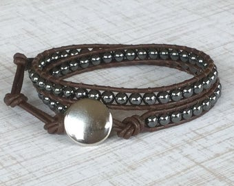 Hematite Wrap Bracelet Brown Leather Double Wrap Brown and Black Bracelet His Hers Free Shipping