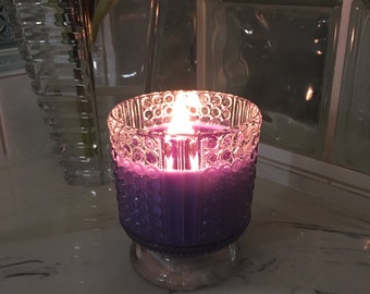 Soy Candle Hand Poured in Round Textured Glass Container with Wood Wick   Scent and Color of Your Choice   Made To Order