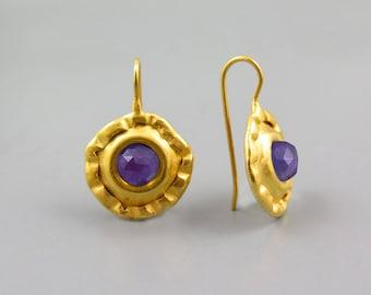 Gold Amethyst Dangle Earrings, Large earrings, February Birthstone, Round Earring, Purple earring, Natural Amethyst Jewelry, Purple Gemstone