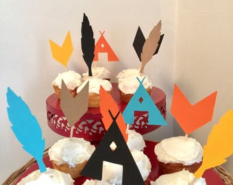 Arrow Birthday decor - Tribal Aztec cupcake toppers  - Wild One Birthday Decor  - Camping birthday cupcake toppers  your color choices