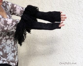 Black curls. Felt fingerless. Felted wool arm warmers. Raw wool locks fingerless gloves. RESERVED.