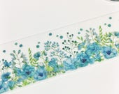 TWO DOLLAR TUESDAY Gorgeous Watercolor Floral Blue and Red Flowers Washi Tape 11 yards 10 meters 30mm