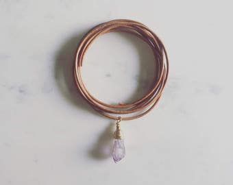 Amethyst Leather Wrap Necklace