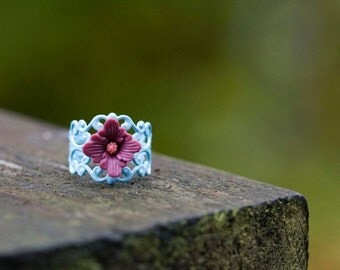 Flower Lace Ring Dark Raspberry Flower Victorian Style Blue Filigree Ring Cocktail Adjustable Ring Vintage Inspired Floral Ring - R009