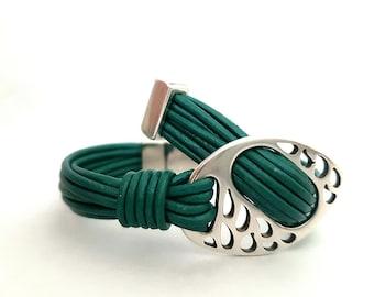 Leather Bracelet, Wrapped Bracelet, Statement bracelet, handmade bracelet