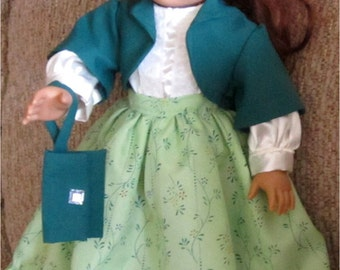 """Beautiful Light Green Dark Teal White Long Skirt Blouse Jacket Purse  4 Piece Outfit Fits American Girl or Similar 18"""" Doll"""