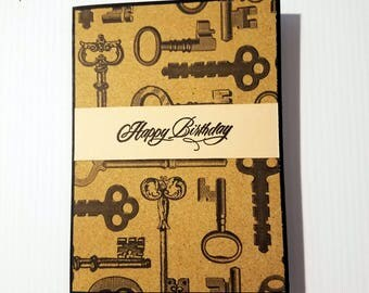 Handmade Birthday Card, masculine birthday card, for him, steampunk card, keys