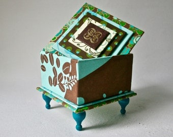 Handmade Box in Teal and Brown with Letterpress Embellishment for Gift and Decor