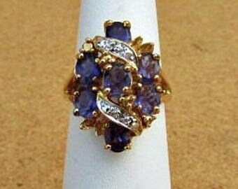 vintage 90s iolite diamond accent cluster ring size 7 925 silver with gold technibond vermeil hsn free shipping