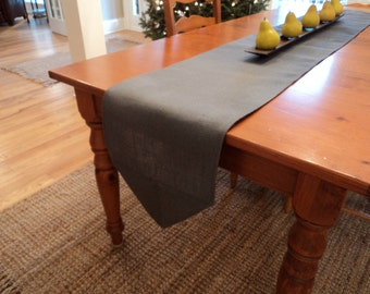 """Gray Burlap Table Runner 12"""", 14"""", 16"""" Width Gray Table Runner with Angled Ends Gray Home Decor Gray Wedding Decor Rustic Industrial Decor"""
