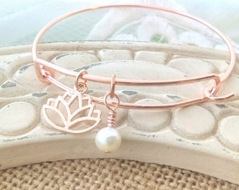 Lotus flower bangle, lotus bracelet, lotus flower, lotus jewelry, Rose gold bangle, rose gold lotus, lotus and pearl, gift for her