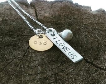 I love us necklace, hand stamped i love us bar, stamped I love us, couples initial I love us jewelry, I love us jewelry