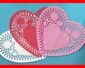 HEART DOILIES Die Cut Red Pink White Paper LOVE Rose Buds Choice up to 25 - 6 Inch Embossed