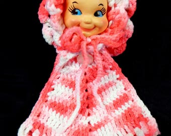 Vintage Unused Hand Crochet Baby Face Doll Hanging Potholder Hot Pad Pinks White