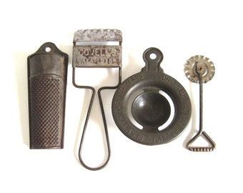 Antique Kitchen Gadgets: Pie Crimper, Watkins Egg Separator, Nutmeg Grater, Covell's Slicer, Vintage Baking Food Photography Props