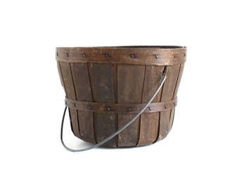 Small Wood Bushel Basket (Half Peck) Vintage Bent Wood Wooden Basket with Handle, Fruit & Apple Basket
