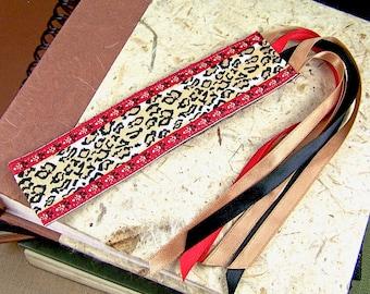 Jacquard Bookmark - Exotic Animal Print - Red, Black & Tan - Satin Ribbon Fringe
