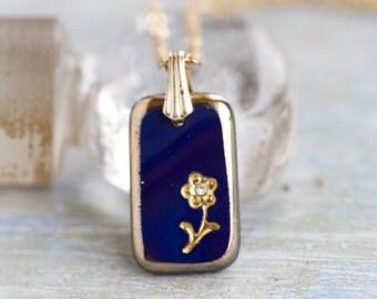 Navy Blue Necklace - Elegant Short Necklace - Murano Glass Lingot Pendant on Golden Chain