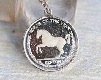 Horse of the Year Necklace - Sefton Medallion Pendant on Chain - Equestrian Jewelry - 20th July 1982 by T Cuneo
