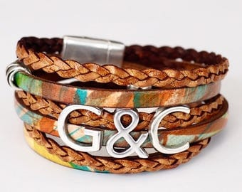 Personalized Wrap Bracelet, Whirly Wrap, leather, braid, cork, you choose initials, couples, kids, grads, brass or silver accents, magnet