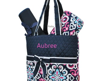 Personalized Diaper Bag in a Pink and Navy Ikat Print 3PIECE