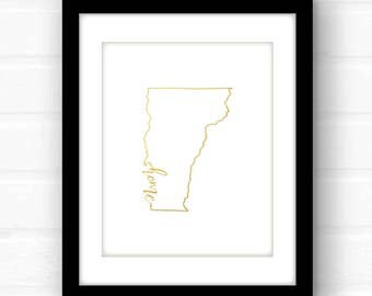 Vermont print | Vermont wall art | gold foil Vermont art print | Burlington Vermont print | gold foil nursery art | Vermont home decor