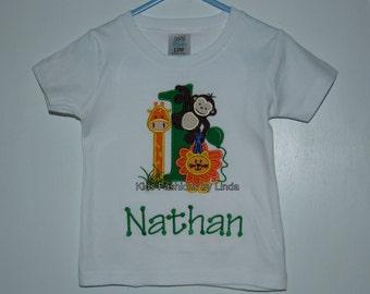 Personalized Applique Zoo Green Boy Short Sleeve Shirt