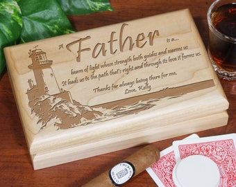 Lighting The Way Personalized Father's Day Valet Box, gift for dad, custom, personalized, wooden, engraved -gfy715915