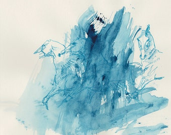 Horse Herd, Animal, Modern Original Fine Art, Blue Ink and Pen Drawing of Horses on Paper, Expressive Art