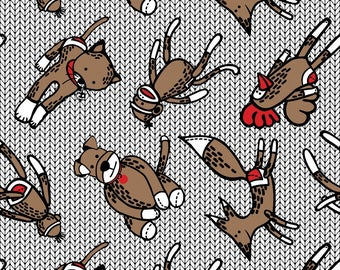 LAMINATED cotton fabric by the yard (similar to oilcloth) - Sock Monkey icing - Matte - WIDE - BPA free - Food Safe - Approved for children
