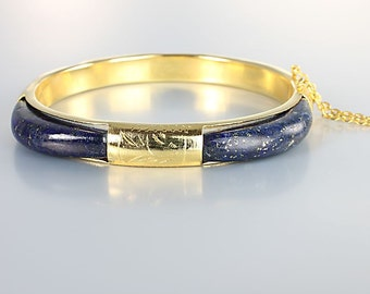 Lapis Lazuli Bangle, Gold tone Hinged Square Bracelet, vintage Chinese Asian jewelry