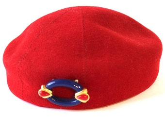 1970's Red Beret Hat