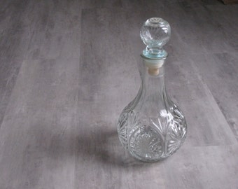 Vintage Clear Glass Wine / Oil Decanter (with slight blue hue)