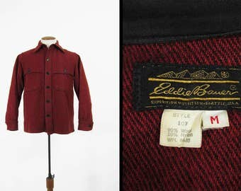 Vintage Eddie Bauer Jac Shirt Red Wool Hunting Cruiser Made in USA - Size Medium
