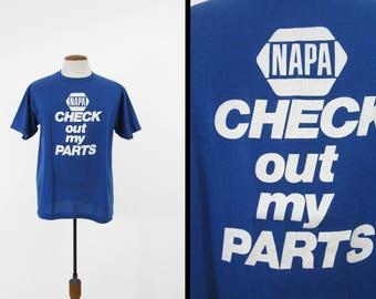 Vintage Napa Auto Parts T-shirt 1980s Check Out My Parts Mechanic Tee - Large
