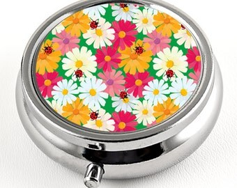 April Daisies Pill Box with Mirror, colorful flower design , Floral trinket box, Unique travel pill box