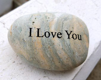 I Love You Engraved Beach Pebble Message Stone, Unique Gift Ideas, Love Engraved Rock