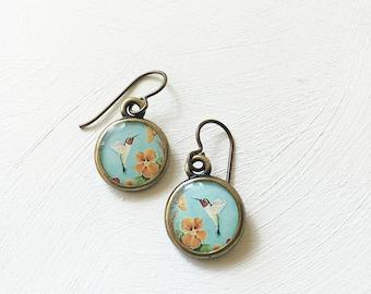 Gifts for Gardeners, Bird Painting, Resin Art Jewelry, Birthday Present, Hummingbird Earrings, Hummingbird Print, Birthday Gift, Bird Lover
