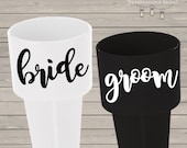 Bride and Groom personalized beach spikers - bride to be beach spiker vacation favors-set of two