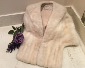 Vintage Luxurious Ivory Champagne Mink Stole Wrap Capelet, Vintage Fur Jacket, Vintage Mink Fur Stole, Vintage Hollywood Glam Mink Fur Stole