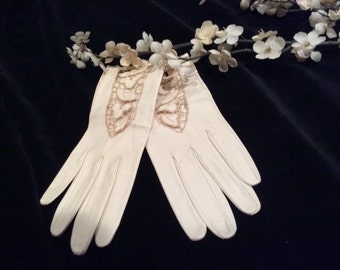 Vintage  Women's Ivory Kid Leather Cutwork Design Gloves, Vintage Leather Evening Gloves
