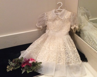 Vintage Little Girls Sheer White Nylon Embroidered Cutwork Floral Lace Dress with Full Ruffled Skirt and 2 Underslips of White and Pink