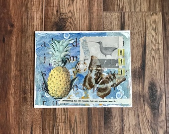 Butterfly Art, Mixed Media Art, Collage Art, Assemblage Art, Pineapple Art, Original Mixed Media, Original Art, Inspirational Quotes